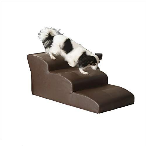 Hundetreppe Hunde Treppe Rampe Wasserdicht, PU Easy Clean Pet Ladder für kleine Katze für hohe Betten , Abnehmbarer und waschbarer Tritthocker (Farbe : Brown, größe : 70×40×30cm) - Und Pet-rampe Treppe