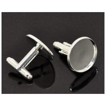 20mm Silver Tone Cufflink Setting Blanks Fits 18mm Cabochon