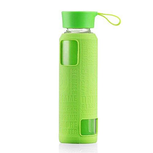 Uno è tutto gybl017420ml Bottiglia in vetro con Silicone Sleev, Borraccia sportiva in vetro con manico in silicone, 350g, verde