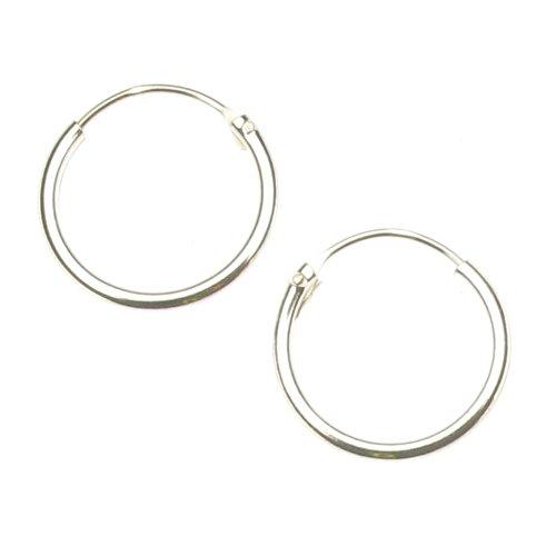 Sterling Silver 12 mm Plain Hoop Earrings