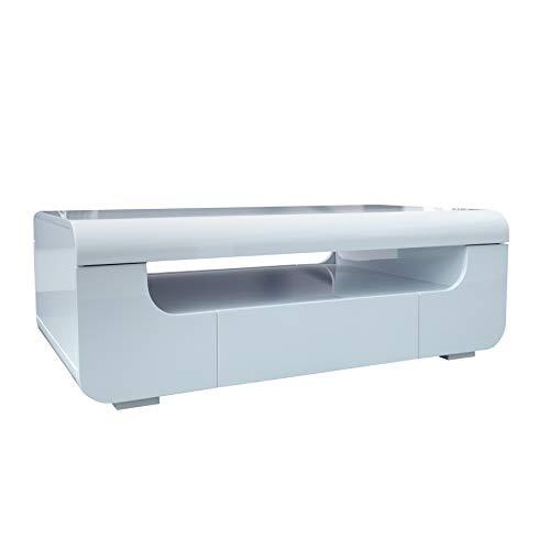 Riess Ambiente Moderner Couchtisch Cube AMBIENCE Hochglanz weiß mit LED Beleuchtung Tisch Wohnzimmertisch Farbwechsel -