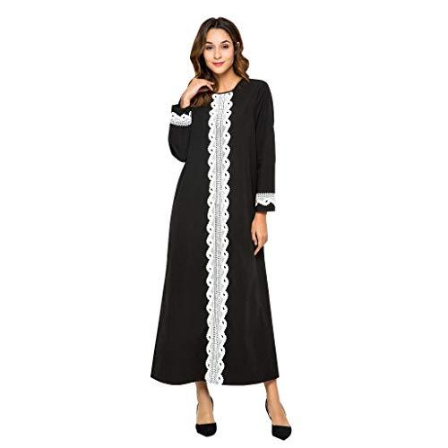 Frauen Kostüm Saudi Arabien - QinMM M-Muslim Nähen Bestickte Damen Robe - Spitze Holz Ohr Streifen Kleid Nahen Osten Saudi-arabien Retro Offizielle Monochrom Hochzeit Islamische Kleidung Größe M-XXL