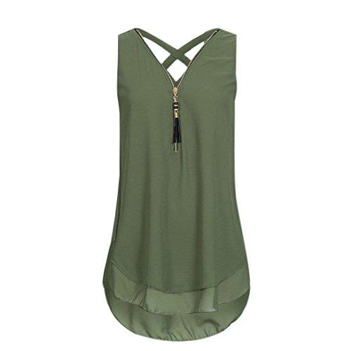 Kimodo 2018 T Shirt Blusen Tank Top Damen Camisole Sommer Lose Weste Freizeithemd Bluse Schwarz Blau Rosa Große Größe (XXXL, A-Grün) (Blau Und Weiß Tie-dye Hoodie)