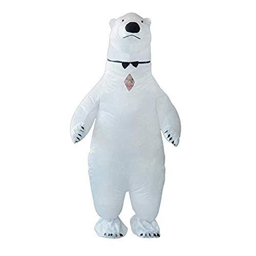 Asitlf Adult White Polar Bear Aufblasbares Kostüm Blow up Kostüm Kostüm für Halloween Dress Up (Adult Polar Bear Kostüm)