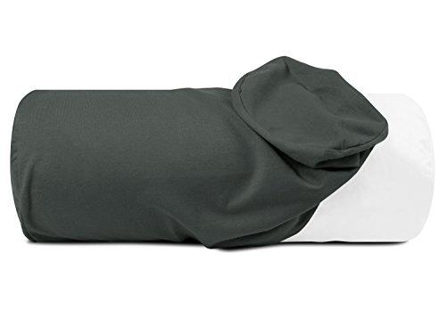 npluseins Jersey-Kissenhülle für Nackenrollen in 17 Farben - 100% Mako-Baumwolle - Einheitsgröße ca. 40 x 15 cm, Bezug in Titanium