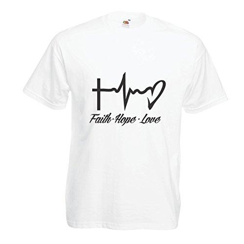 Männer T-Shirt Glaube - Hoffnung - Liebe - 1. Korinther 13:13, christliche Zitate und Sprichwörter, religiöse Sprüche (XXXX-Large Weiß Mehrfarben)