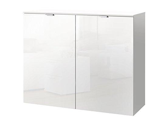 Express Möbel Kommode Schrank Weiß Hochglanz, Absetzung Polarweiß, BxHxT 100x80x42 cm, Art Nr. 30803-203