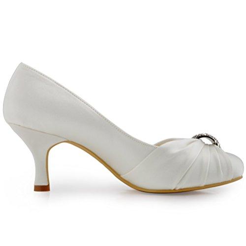 ElegantPark HC1526 Escarpins Femme satin Chaussures de mariee mariage bal Ivoire