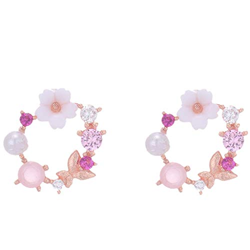 Floweworld Damen Kranz Ohrringe Sweet Metal Flower Perle Schmetterling Diamant Ohrringe Damen Schmuck Geschenke -