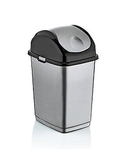 High Grade Plastic Flip Top Swing Dustbin Waste Bin with Lid (5L Slim Flip Top, Grey)