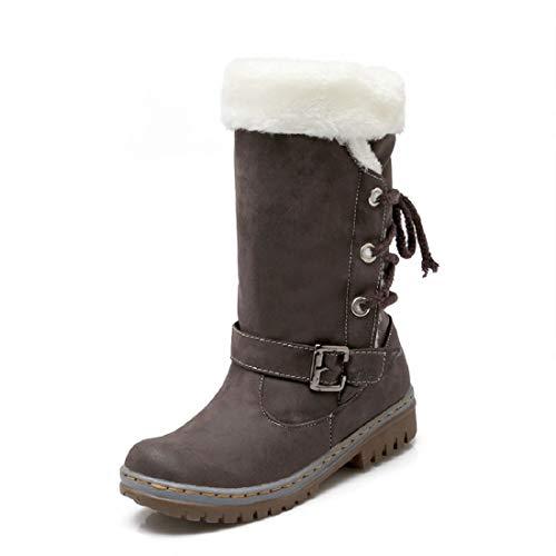 Winterstiefel Damen Gefüttert Schneestiefel Bequeme Schuhe Blockabsatz Outdoor Schwarz Sneaker Schnüren Langschaft Stiefel Braun 37