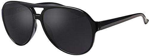 La Optica UV 400 Herren Retro Sonnenbrille Pilotenbrille Fliegerbrille - Einzelpack Glänzend Schwarz (Gläser: Polarisiert Grau)