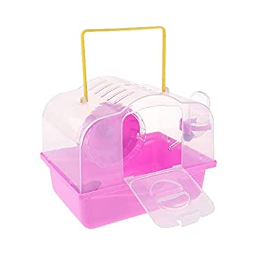 Portable Pet Carrier Hamster Carry Case Cage with Water Bottle Travel Outdoor for Small Animals AOD