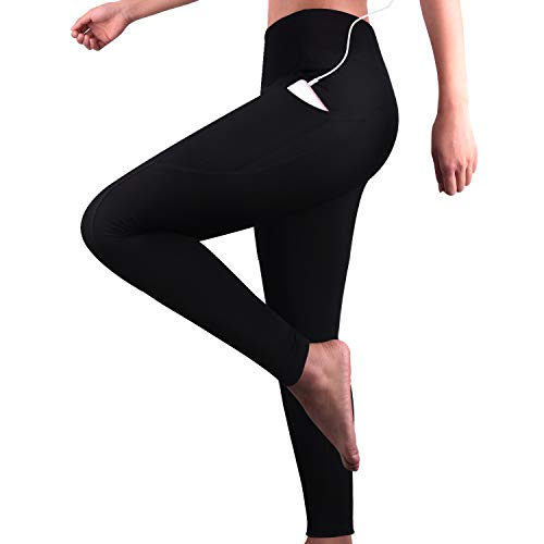 GRAT.UNIC Damen Hohe Taille Sport Leggings,Damen Sport Leggings,Yoga Sporthose mit Seitentaschen, Damen Leggings,Classics Schwarz Stretch Workout Fitness Jogginghose (Schwarz(Lange leggings), L)