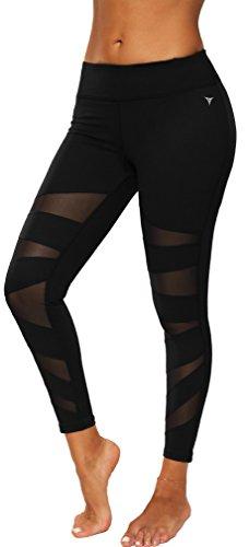 Bettydom Femme Legging de Sport Athletic Gym Fitness Yoga Elastique Slim Transparent(Large, 5-Noir)