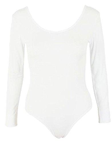 Commencer–Body a maniche lunghe in tessuto elasticizzato, top White