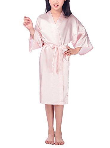 DELEY Kinder Mädchen Kimono Aus Satin Seide Soft Robe Bademäntel Morgenmäntel Nachtwäsche Pyjamas Seidenrobe Nachthemden Rosa für 100-110cm (Belted Kimono Robe)