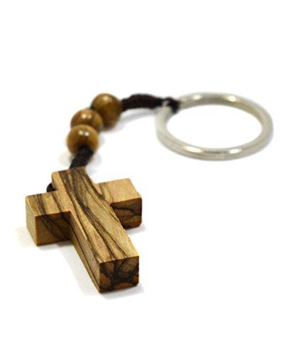 Authentischer Olivenholz-Kreuz-Schlüsselanhänger mit Drei Rosenkranzperlen für Faith Hope & Charity aus Bethlehem ()