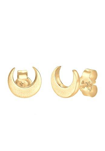 Elli Damen Schmuck Echtschmuck Ohrringe Ohrstecker Astro Halbmond Moon Trend Sterling Silber 925 Vergoldet