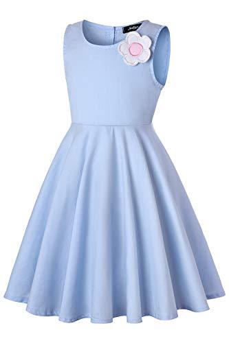 Dance Fairy Molliya Kleine Mädchen Sommer Blumen Engelsflügel Kleid Ärmelloses Kleider,Blau,80cm