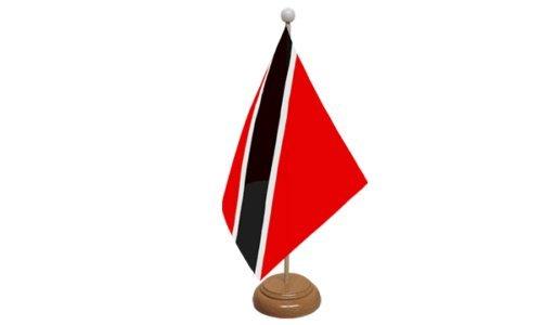 Trinidad und Tobago Tisch Flagge mit Holz Ständer + 59mm Button (Und Trinidad Tobago-embleme)