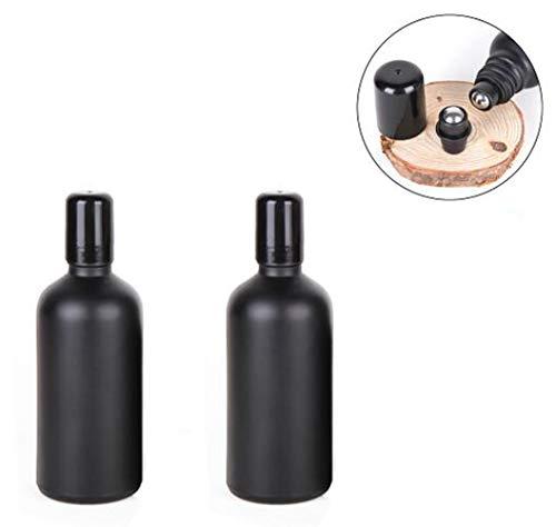 2 STÜCKE 100 ML 3.4 UNZE Leere Nachfüllbare Schwarz Matte Beschichtung Glas Roller Flasche mit Deckel und Edelstahl Roller Ball Ätherisches Öl Parfüm Gläser Fläschchen Kosmetik Probenbehälter - Zwei 2-unze-gläser