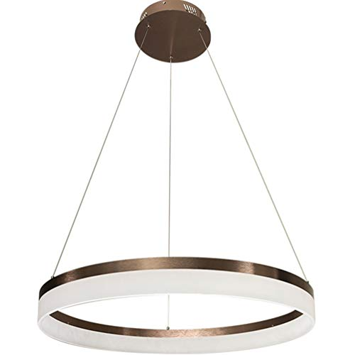 Modern Dimmbar Ring from Pendelleuchte Zeitgenössische Braun Pendellampe mattweiß Acryl Lampeschirm Kreative Design Hängeleuchte Innenbeleuchtung Kronleuchter Esszimmerlampe Schlafzimmerlampe, Ø40cm -