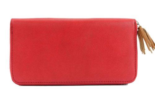 Borsa Da Donna Portamonete Italiana Portmonee Soldi In Pelle Bicolore X685815a Rosso / Cammello