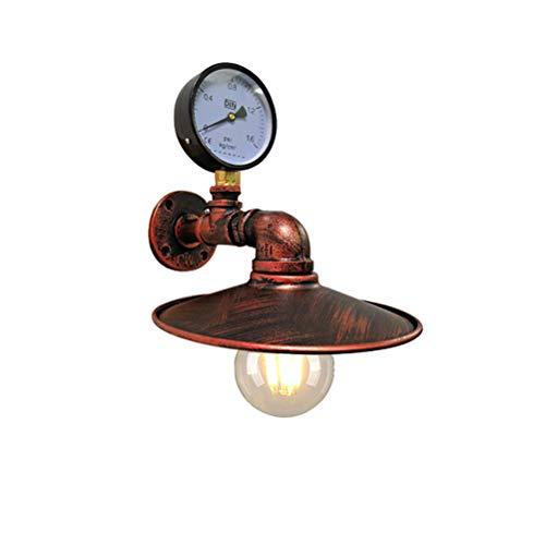 RTYUIIO Industrielle Wandleuchte, Loft Retro Gang Antik Schmiedeeisen Manometer Rohr dekoratives Licht -