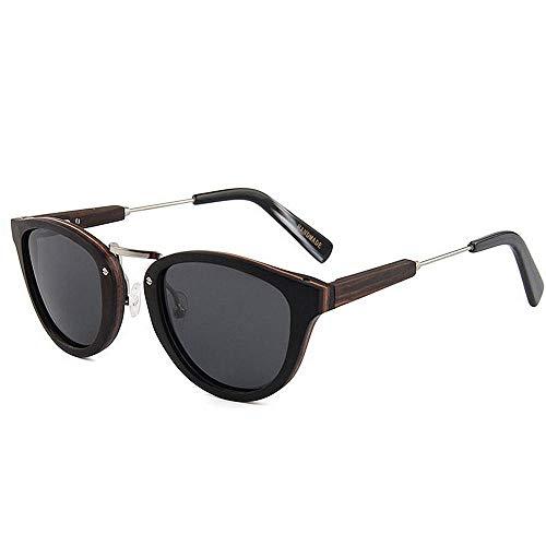 Herren Outdoor Freizeit Classic Wild Wooden Sonnenbrille Herren Polarized Sonnenbrille Handmade Gentleman Sonnenbrille UV-Schutz Driving Sonnenbrille Strand Sonnenbrille (Farbe: Schwarz)