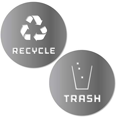 Recycle und Trash Aufkleber Modernes Logo (1EA) Symbol zu organisieren Trash Dosen Oder Garbage Container und Wände-Vinyl Aufkleber Aufkleber Silber Silberfarben Metallisch Medium - 8.25x8.25 -