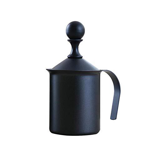 Momangel Milchaufschäumer, Edelstahl, doppelschichtig, 400/800 ml, für Cappuccino, Kaffee, Schaum, Geschenk zum Einweihen, edelstahl, Schwarz, 400 ml