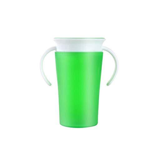Vektenxi 360 Grad-auslaufsicheres Doppelgriff-Baby, das Trinkwasser-Schalen-Flaschen-Grün dauerhaft und nützlich lernt - Flasche Baby-lernt