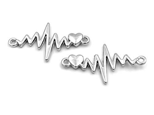 Verbinder Frequenz mit Herz in Platinfarben 2er Set von Vintageparts DIY Schmuck
