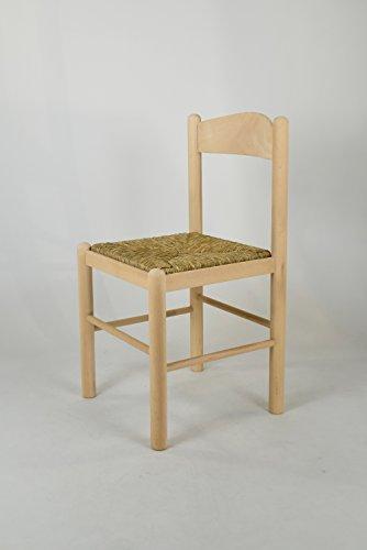 Set 2 sedie cucina e sala da pranzo dallo stile classico, con robusta struttura in legno di faggio levigato, non trattato, 100% naturale e con seduta in paglia. set pisa 50 by tommychairs, sedie di design.