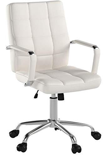 CLP Bürostuhl Deli PRO mit Kunstlederbezug I Schreibtischstuhl mit Metalldrehkreuz I Chefsessel mit Leichtlaufrollen I erhältlich Weiß