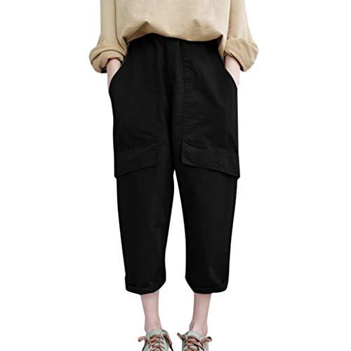 WOZOW Harem Pants Damen Capri Bettwäsche Baumwolle Hippie Solid Einfarbig Bloomers Pockets Casual Loose Long High Waist Saggy Crop Trousers (L,Schwarz) (Frauen Tall Jeans Größe 18)