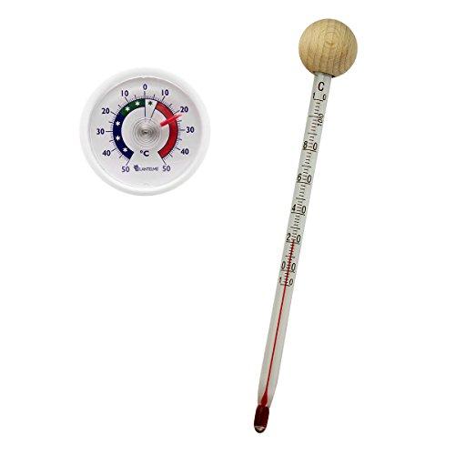 Set Tee Tassen Glas mit Holzkugel und Universal Klebe Thermometer . Teetassenthermometer Temperaturbereich bis 110 °C . Teewasser , Wasser , Glasthermometer Made in Germany