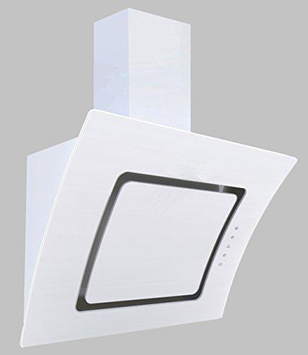 respekta kopffreie Schräghaube Dunstabzugshaube Abzugshaube Wandhaube Glas 60 cm weiß EEKL A / Touch Control / Abluft und Umluft / LED