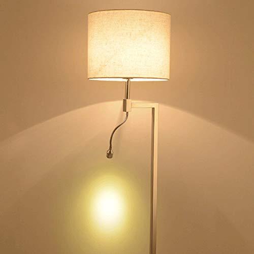Lámpara de pared de tela moderna nórdica, luz de pared cromada de la cabecera, luz de lectura LED ajustable, iluminación de la sala de estar del dormitorio de estudio, 2 interruptores, aplique