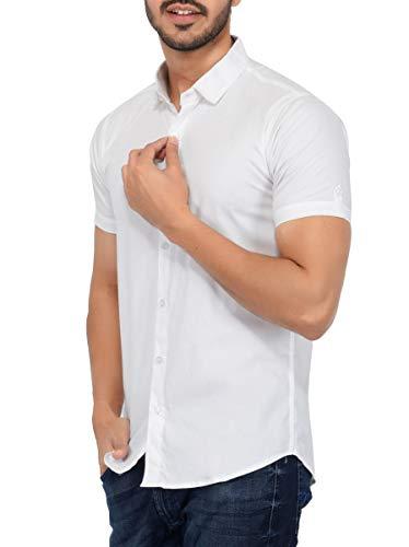 U-TURN Men's Cotton Half Sleeve Shirt (White, Large)