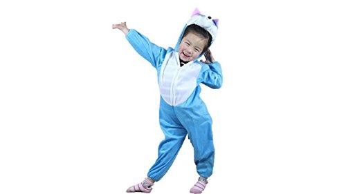 Kinder Tierkostüme Jungen Mädchen Unisex Kostüm Outfit Cosplay Kinder Strampelanzug (Blaue Katze, L (Für Kinder 105 - 120 cm groß))