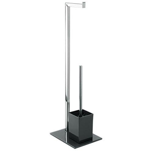 MSV Stand WC Garnitur aus Edelstahl und Glas mit herausnehmbaren Innenbehälter für die WC Bürste Schwarz - Juego über
