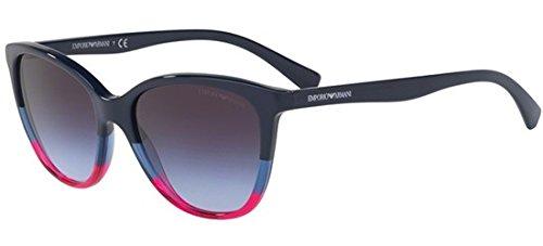 EMPORIO ARMANI Women's 0EA4110 56334Q Sunglasses, Violet/Blue/Strawberry/Violetgradientgrey, 55