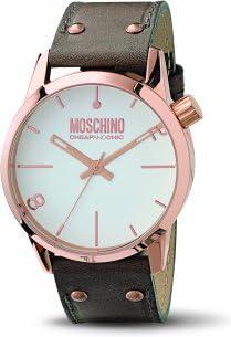 Moschino MW0103 - Reloj analógico de caballero de cuarzo con correa de piel marrón - sumergible a 50 metros