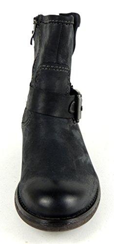 MARCO TOZZI Damen Boots BIKERLOOK Reißverschluss LEDER schwarz 25367 Schwarz
