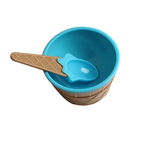 BESTONZON Cute Ice Cream Bowl Kunststoff Dessertschale mit Löffel (blau)