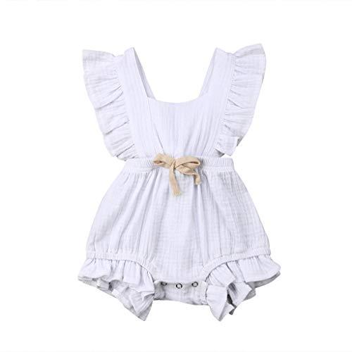 Neugeborenes Baby Mädchen Farbe solide Rüschen Backcross Strampler Bodysuit Outfits (Neugeborene Baby-kleidung Nike)