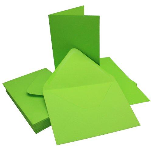 DIN B6 Faltkarten Set mit Umschlägen | Hellgrün | 25 Sets | 115 x 170 mm | ideal für Einladungskarten, Hochzeit, Taufe, Kommunion, Konfirmation | formstabil | Marke: FarbenFrohu00ae
