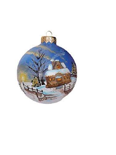 Palla di Natale con Neve Dipinta a Mano in Ceramica, Diametro 10 cm, Le Ceramiche Del Re